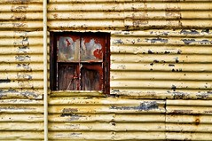 Grunge Garage (holly hop) Tags: abandoned australia brokenwindow centralvictoria corrugatediron decay garage grunge hww newwallwednesday peelingpaint starnaud tinshed victoria wall wallwednesdays window windowwednesday yellow sedge808sfaves