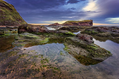 Seacliff Beach, Scotland, 27th February 2017 (Gary Alexander landscapes) Tags: seacliff beach beaches landscape land landscapes l lens 17mm canon 6d f13 iso100 iso scotland north berwick east lothian location light sunset rock rocks water sky green red surreal high quality tripod cliff cloud clouds