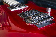 A new acquisition (herecomesanothersongaboutmexico) Tags: guitarproject repairproject ibanez joesatrianisignaturemodel js100 red transparentred instrument music floydrosebridge