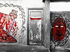 House of Horror (louise peters) Tags: horror house huis deur door fear blood bloed red rood flourfactory meelfabriek abandoned verlaten leiden mural graffiti wallart