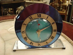"ART DECO BLUE MIRRORED TELECHRON TABLE CLOCK, RUNS. • <a style=""font-size:0.8em;"" href=""http://www.flickr.com/photos/51721355@N02/14335600348/"" target=""_blank"">View on Flickr</a>"
