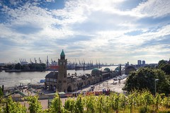Hamburg meine Perle... (patricktures) Tags: street 2 sky sun clock clouds canon river germany deutschland eos harbor wasser mark ships hamburg himmel wolken container ii 5d usm hafen fluss landungsbrücken sonne elbe schiffe uhr landingbridges 2035 strase 3545