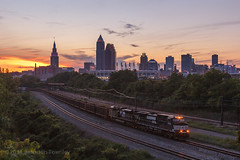 NS W16 in Cleveland, OH (Brandon Townley) Tags: city railroad sunset ns cleveland trains norfolksouthern