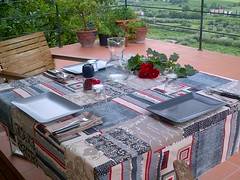 Dinner 25th July 2014 (briiblog) Tags: blue red ikea home dinner table grey beige terrace gift erbisti