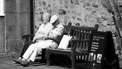 old couple dozing in the sun near the palace (byronv2) Tags: street old sleeping summer people blackandwhite bw woman sun sunlight man history monochrome sunshine weather bench scotland blackwhite warm edinburgh sitting sleep candid seat sunny elderly holyrood sit royalmile snooze doze seated oldtown banc dozing canongate edimbourg