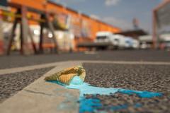 Lost Blue Ice (österreich_ungern) Tags: blue summer food orange berlin ice lost melting cone cream ground heat arrow smurf blau asphalt eis schlumpf waffel pfeil neun guesswhereberlin guessedberlin gwbslomotion