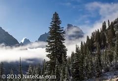 Shadows in the Mist (NateKat Photography) Tags: trees mist snow backpacking blueskies wyoming peaks grandtetonnationalpark tetoncresttrail canon7d