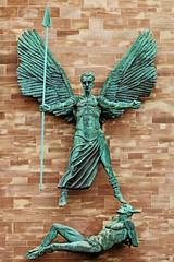 St Michael's Victory over the Devil (Leo Reynolds) Tags: sculpture statue verdigris publicart leol30random xleol30x publicartcoventry xxx2014xxx