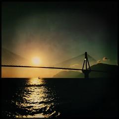 HipstaPrint (dimakk) Tags: bridge light shadow sea sky cloud sun sunlight seascape reflection art rio architecture clouds reflections landscape puent
