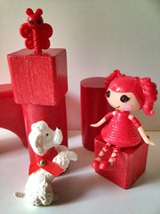 Red (theillustratedabc) Tags: red colour building butterfly doll mini blocks lalaloopsy