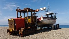 Weybourne (Mr PloppyPants) Tags: ocean blue sea england sky tractor beach yellow lumix boat fishing rust great norfolk pebbles panasonic g6 yarmouth weybourne 1442 1442mm yh79 hfs014042 dmcg6