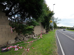 (turgidson) Tags: road brick wall digital ed four lumix traffic angle accident g wide wideangle olympus m panasonic micro dual ultra destroyed zuiko demolished dmc thirds rta carriageway m43 dualcarriageway gh2 f456 n11 cabinteely f4056 roadtrafficaccident mirrorless lumixg microfourthirds 918mm olympusmzuikodigitaled918mmf4056 panasonicgh2 panasoniclumixdmcgh2 p1290104