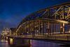 Hohenzollern Bridge, Cologne (Kevin Lloyd) Tags: bridge christmastrip cologne dom germany hohenzollernbridge kolnerdom northrhinewestphalia omdem5 olympus rhine arch cathedral dusk nightphotography river span