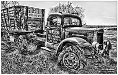 April 8 2012 - One of Geis Trucking's older trucks (La_Z_Photog) Tags: lazy photog elliott photography geis trucking worland wyoming early livestock hauling truck trailer black white abandoned weathered