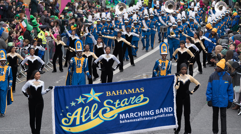 Bahamas All-Stars Marching Band [In Action During The St. Patrick's Day Parade 2017]-125753