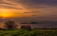 Beautiful sunset over Afionas bay Corfu Greece. (vlassisd123) Tags: corfu greece europe sea seascaoe seaside seaview scenery scenic landscape travel holidays destination hiking view sunset sunrise bench tree beautiful amazing