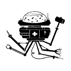 Day 79: Medical Droid (ChrisKoelsch) Tags: medical medicine doctor nurse remedy illustrator illustration photoshop ink robot robo bot mech mechanical droid leech blood pain electric lobotomy heal health digital art graphic design