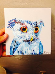 """Painted today """"Blue Owl"""" up for sale #art #owl #artwork #painting #forsale #owllove #owls #illustration# #feathers #etsy #paypal #artoftheday #artist #love #shy #blue http://www.facebook.com/RaquelR.art (RaquelR.Art) Tags: blue art love illustration painting artwork artist forsale feathers shy e owl etsy owls paypal owllove artoftheday"""