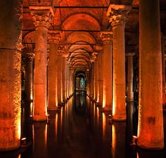 Basilica Cistern, Istanbul, Turkey. (gekaskr) Tags: old travel light reflection history tourism water lamp beautiful stone museum architecture turkey dark underground asian store ancient colorful arch tank roman antique interior basilica culture illumination istanbul palace tourist medieval storage illuminated historic reservoir east indoors empire chamber civilization column middle turkish byzantine cistern ethnicity constantinople lightweight yerebatan nobility
