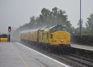 97304 powers through Swinton during a thunderstorm and torrential rain with the 3Q01 Derby RTC to Whitby, 9th June 2014.