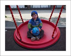 On the red swing (Christa (ch-cnb)) Tags: blue red playground norway ball norge olympus swing pro skole trondheim zuiko omd stefano bysen em5 dalgrd mzd1240mm