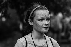 Cinnamon In B&W (raisinsawdust - (aka: withaneyephotography)) Tags: summer camp bw cute girl nikon tennessee cinnamon freckles redhair camper summercamp 2014 d600 cinnamongirl nikond600