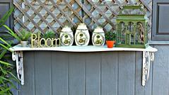 summer birdcage planters wroughtiron shelf bloom greenery summertime brackets lattice canisters shabby shabbygreen shabbyshelf marbleshelf