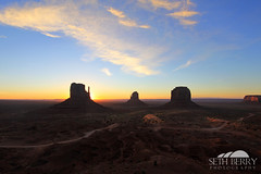 Monument Valley Sunrise (Seth Berry Photography) Tags: arizona sky usa sun west monument silhouette sunrise utah native nation american valley western navajo monumentvalley mittens reservation sethberryphotography