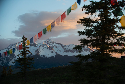 Prayer flags over Wilson Peak