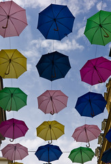 Umbrella Sky (The_Kevster) Tags: street leica decorations light sky clouds colours rangefinder luxembourg umbrellas clausen summicron50mm leicam9