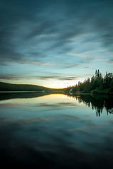Sun rolling down(Explore) (MaxGag) Tags: longexposure sunset lake reflection tree clouds fishing day cloudy explore trouts boivin