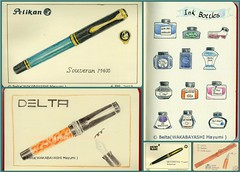 pen_01 (blue_belta) Tags: art moleskine collage illustration ink sketch bottle ar drawing postcard delta fountainpen pelikan montblanc colorpencil lamy