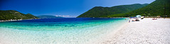 Antisamos Beach, Kefalonia (ShotHotspot.com) Tags: ocean desktop blue sea panorama holiday seascape beach water island greek seaside sand turquoise background pebbles greece kefalonia cephelonia kefalania shothotspotcom
