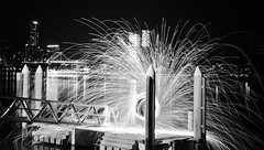 black and white fire (isaacbetteridge) Tags: longexposure light red blackandwhite white black color colour water night fire photography photo cool interesting view brisbane colourful pylons refelction toowoombanight