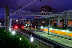 in Taiwan Taichung .  . Fongyuan station at night   DSC_4971 (Ming - chun ( very busy )) Tags: travel light station night train nikon nightscape nightshot taiwan scene nightlight taichung lighttrails nikkor      d800    nightscenes           fongyuan  18105mm