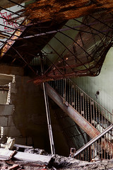 The Stairs, Falling Down ([jonrev]) Tags: urban abandoned hotel ruins apartments arms exploring indiana gary ambassador residential destroyed apts decaying ue urbex cesspool