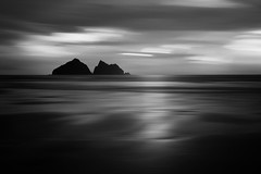 AFTER DARK (Nick green2012) Tags: uk longexposure light sea bw white seascape black beach water overgrown monochrome clouds coast twilight sand cornwall alone shadows shine shoreline silouette minimal coastal only dreamy lowtide minimalist iplymouth