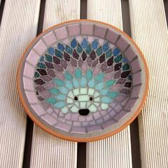 Lavender Hedgehog Mosaic Garden Water Dish (Jo Sara) Tags: water glass garden dish mosaic terracotta decorative bowl ornament hedgehog hedgepig