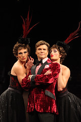 (L to R) Brian Steven Shaw (Angelique), Brent Barrett (Georges) and Adam Lendermon (Chantal) in La Cage aux Folles, produced by Music Circus at the Wells Fargo Pavilion August 19-24, 2014. Photos by Charr Crail.