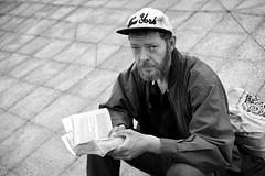 Stewart (Bulent Acar) Tags: street portrait london monochrome photography reading book fry homeless documentary stephen hackney liar the