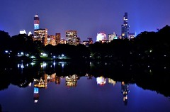 Central Park-The Lake, 07.11.14 (gigi_nyc) Tags: nyc newyorkcity summer reflections nightlights centralpark nightshots nycskyline thelake midtownmanhattan