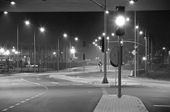 Enjoy the silence (Matt Berger Photography) Tags: street bridge urban blackandwhite bw streets sign night lights mono nikon nightlights poland polska route nikkor gdansk danzig gdask pologne nikond3200 coty pomorze mattberger d3200