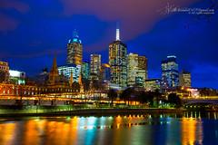 Melbourne Australia (Qicong Lin(Kenta)) Tags: city bridge blue sunset sun color colour reflection building architecture night river nikon cityscape footbridge australia melbourne victoria southbank yarra vic magichour southgate 2014  d600   qiconglin