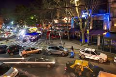 Plaza Serrano (Curtis Gregory Perry) Tags: street plaza longexposure motion blur argentina car bar club night disco buenosaires nikon taxi nightlife brujas serrano             d800e