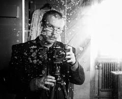 In the Spotlight (http://www.henriksundholm.com/) Tags: door camera portrait people blackandwhite bw selfportrait man reflection male tower castle window glass monochrome face shirt museum lens table person glasses mirror clothing model eyes hands nikon candle photographer sweden tripod fingers palace dirty ring suit spots spotted sverige filth filthy vignette radiator hanger manfrotto selfie sacristy strmsholm hallstahammar sakristia nikond7000 henriksundholm