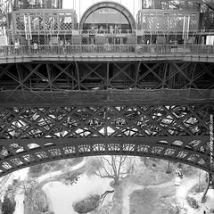 Monde suspendu, Paris, 2012 (annegrandin) Tags: paris france tower noir tour hiver jardin eiffel structure nb monde blanc pavillon 1er 2012 hauteur mtallique suspendu ascenseurs tage pilliers