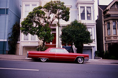 Red DeVille out front (Robert Ogilvie) Tags: gwsf cadillac coupedeville foundinsf contaxs2
