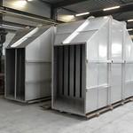 RVS Geluiddemper tbv composteringsinstallie. Geschikt voor een luchtvochtigheid van 70%
