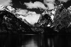 Jenny Lake - Black and White (roadcat2016) Tags: wyoming tetons grandtetons mountains water lake travel clouds mountainpeaks mountainscenery