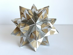 Silver star (o0o0oecho0o0o) Tags: origami papercraft folding paper star silver modularorigami spiky kraft craft modularorigamikaleidoscope diy kusudama flower ball
